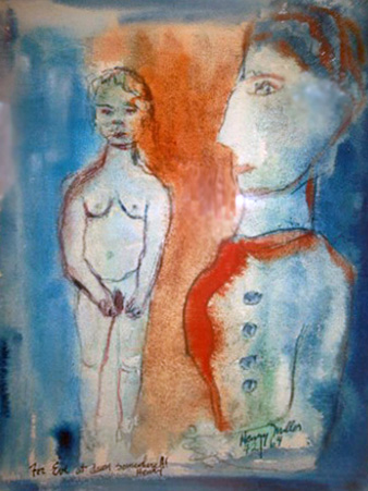 for Eve At Dawn Somewhere Watercolor  1964 21x17