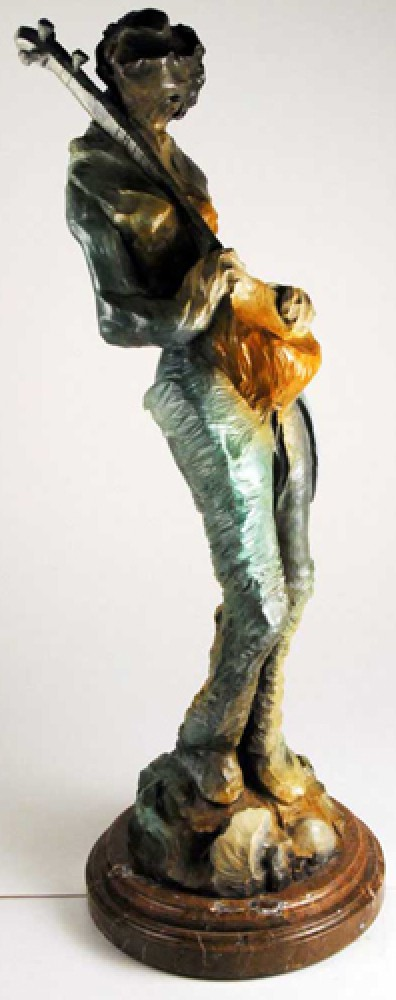 Setar Player Bronze Sculpture 37 in