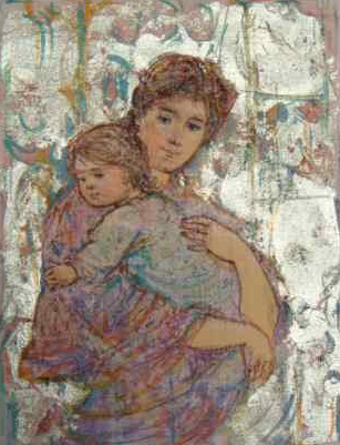 Mother and Baby on Silk 9x7