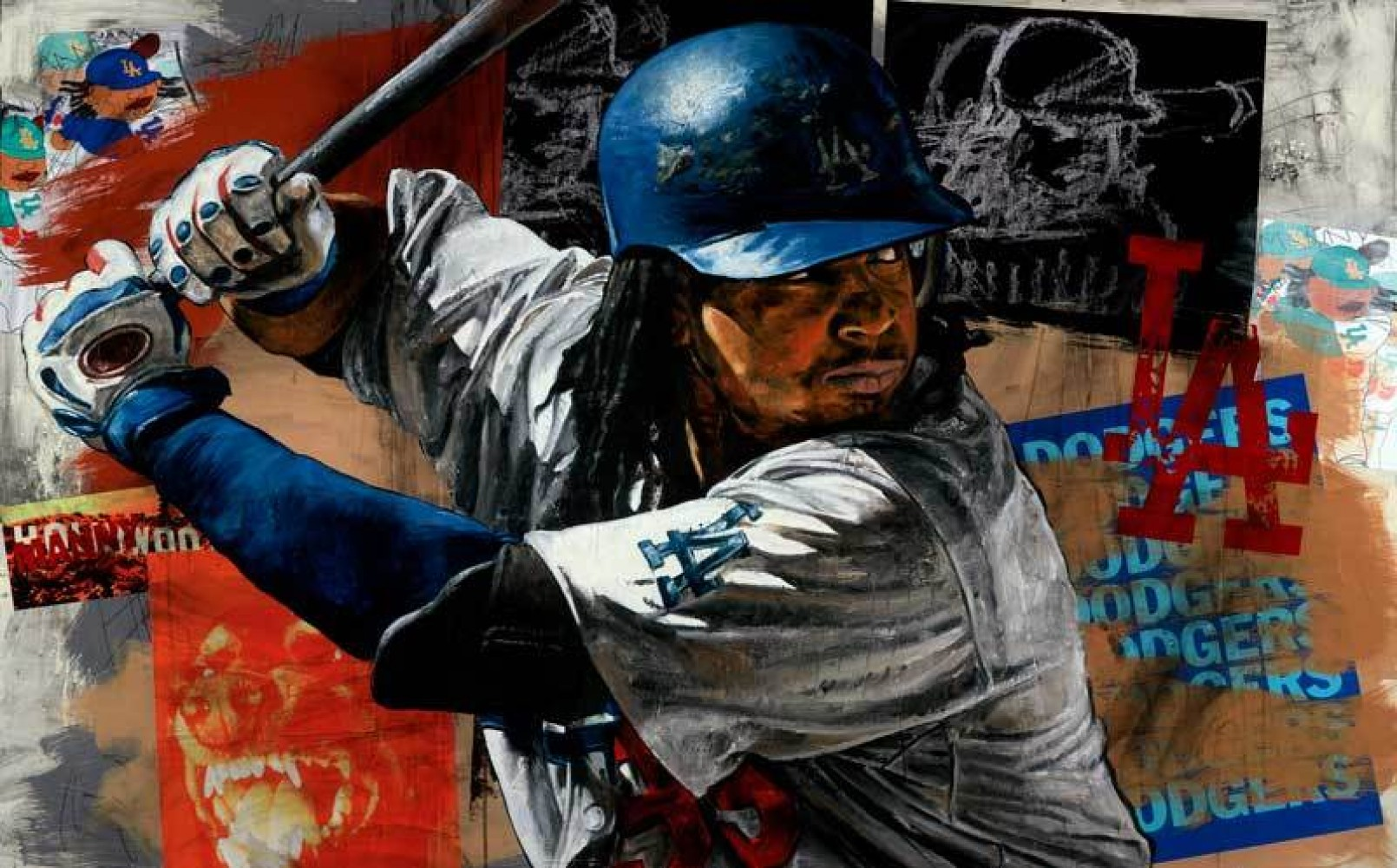 Stephen Holland Paints Manny Ramirez 2009 Embellished