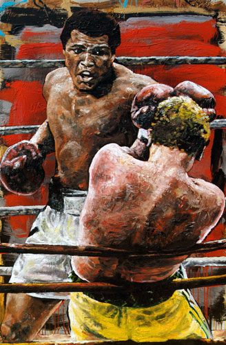 Ali Turns It On - Cassius Clay (Muhammad Ali) 2001 HS 60x38 Oil on Wood