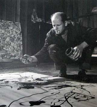 Jackson Pollock, Painting in His Studio, Springs, New York, 1949