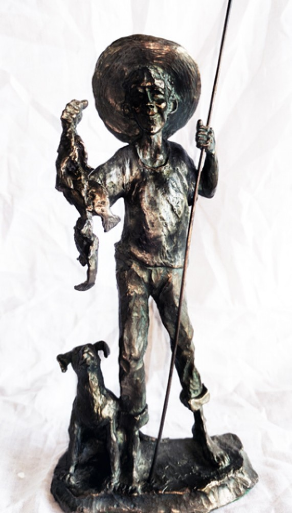 Gone Fishin Bronze Sculpture 1990 10 in
