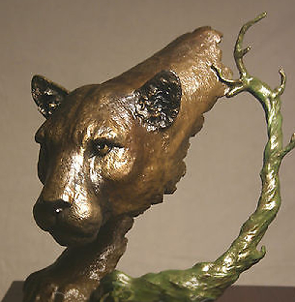 Stalking Cougar Bronze Sculpture 1992 13 in