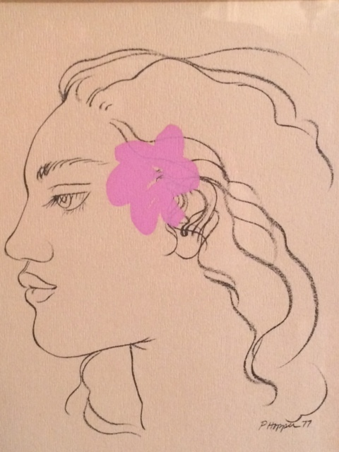 Pink Hibiscus Drawing 1977 7x5