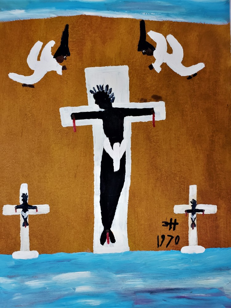 Black Christ Crucified Between Two Thieves With God's Angels 1970 30x22
