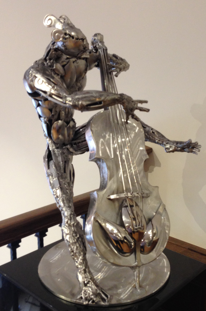 Bassist Stainless Steel Original Sculpture 2015 22 in