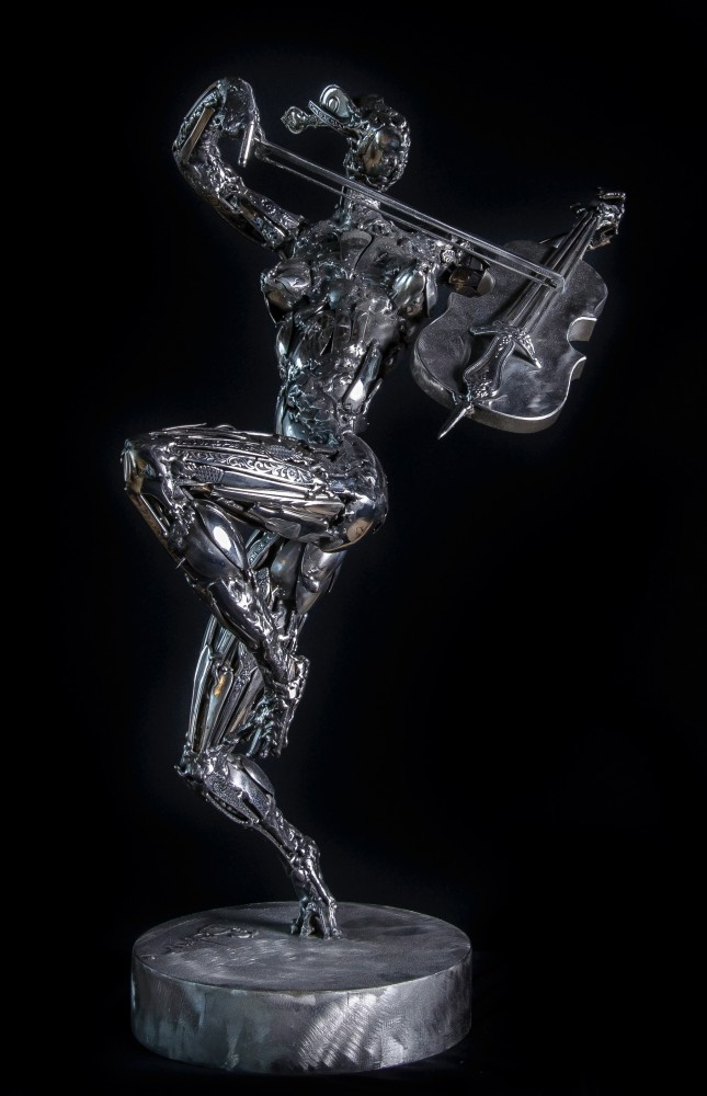 Cellist Stainless Steel Original Sculpture 2014 25 in
