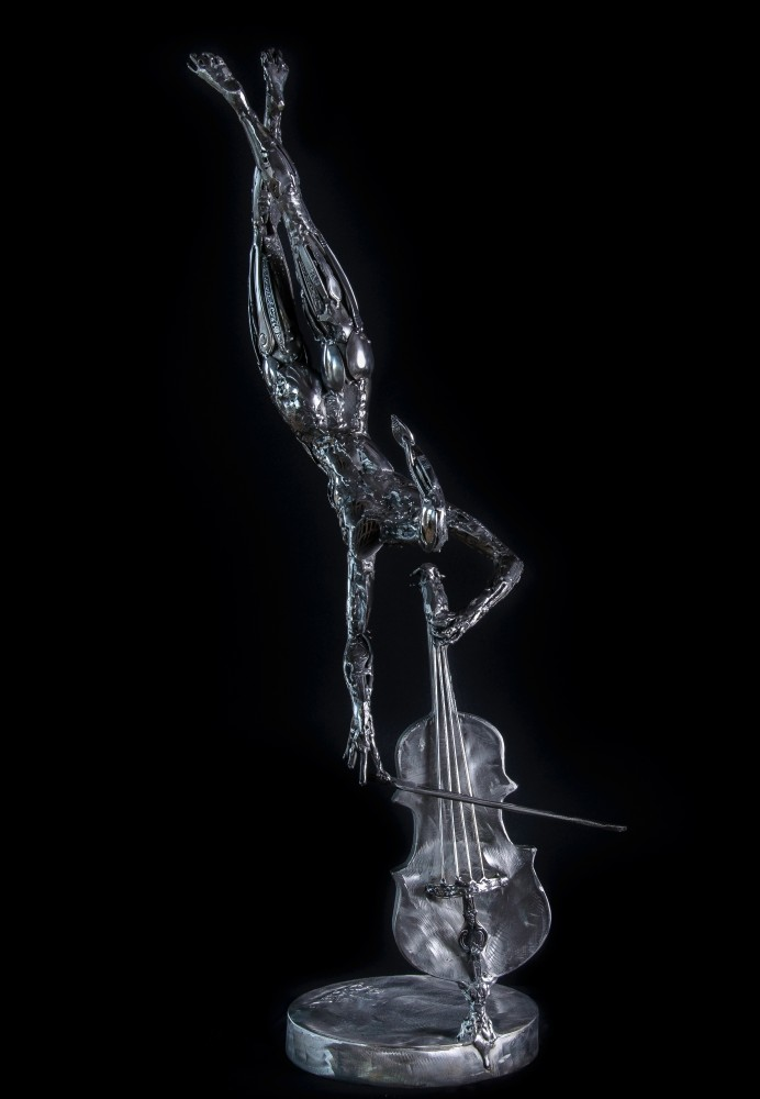 Flying Cellist Stainless Steel Original Sculpture 2014 36 in