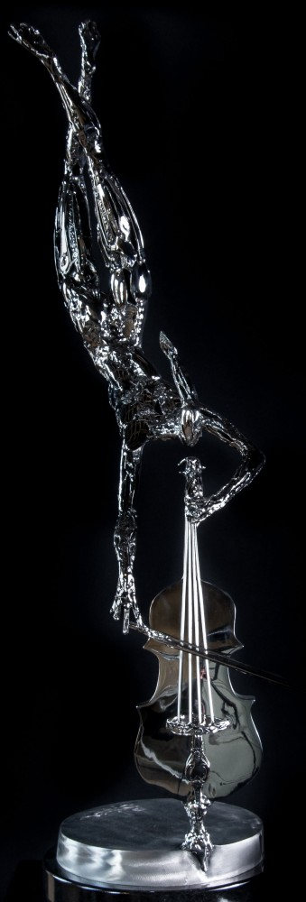 Flying Cellist Stainless Steel Sculpture 2014 38 in
