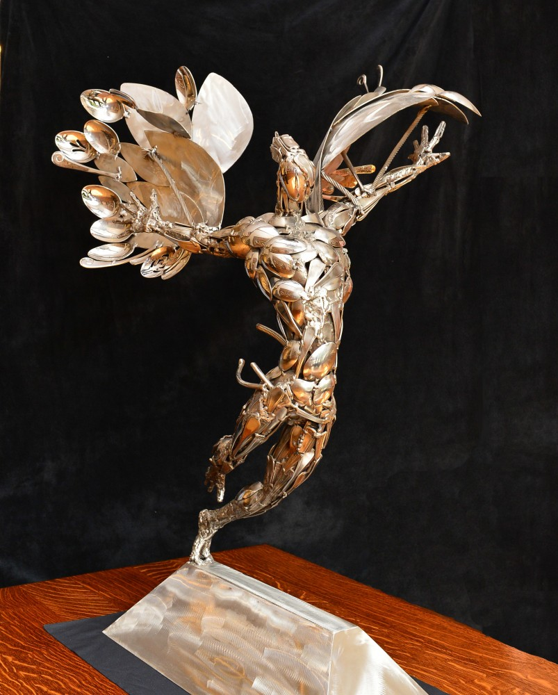 Leap of Icarus Stainless Steel Original Sculpture 42 in