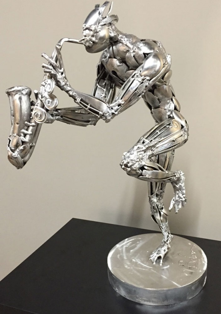 Saxophonist Stainless Steel Original Sculpture 2015 23 in