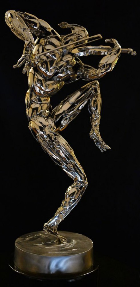 Violinist Stainless Steel Sculpture 2014 27 in