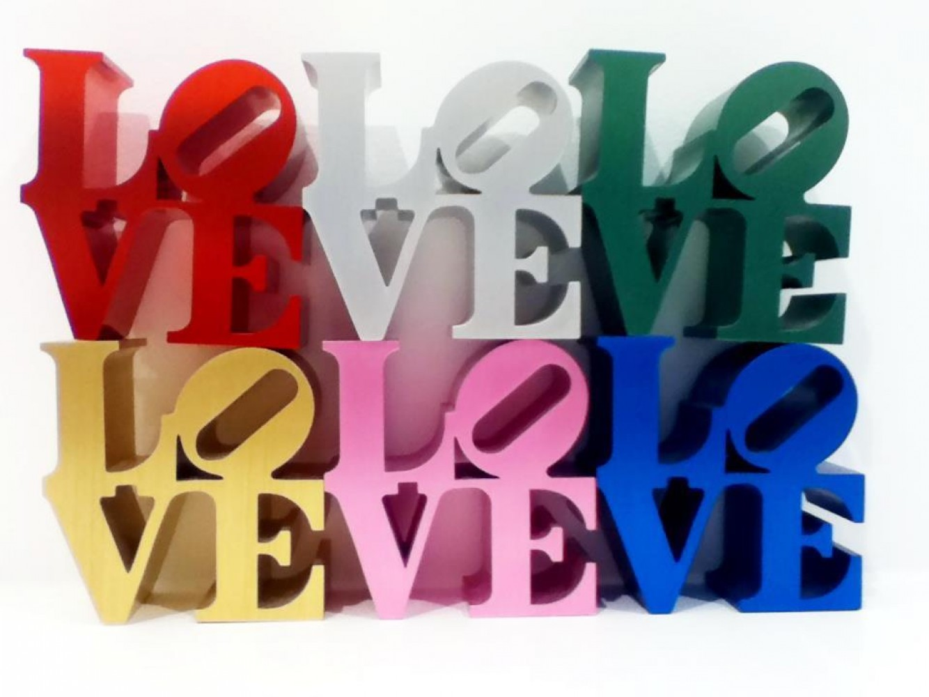 Love Aluminum set of 6 Sculpture 2000 by Robert Indiana