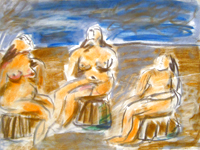 Bathers Suite of Four Paintings 1982 33x58