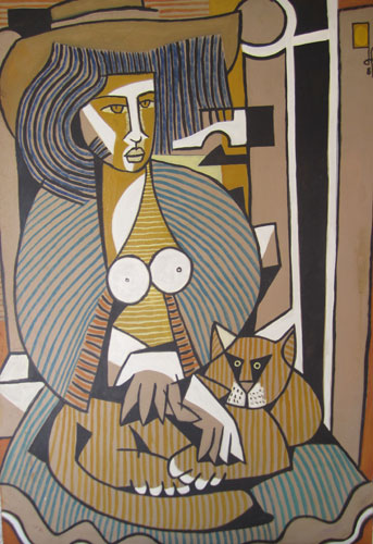Woman with a Cat 1984 39x27