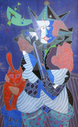 Clown Musician with Red Cat