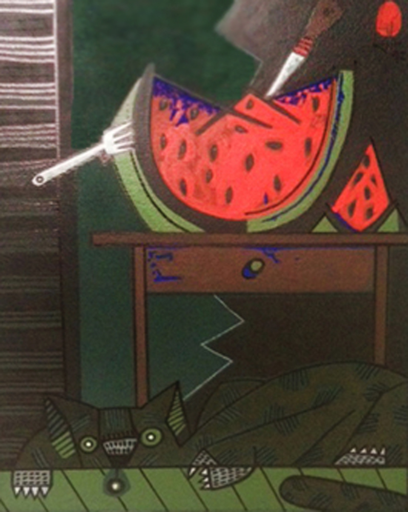 Cat With Watermelon 1992 27x30