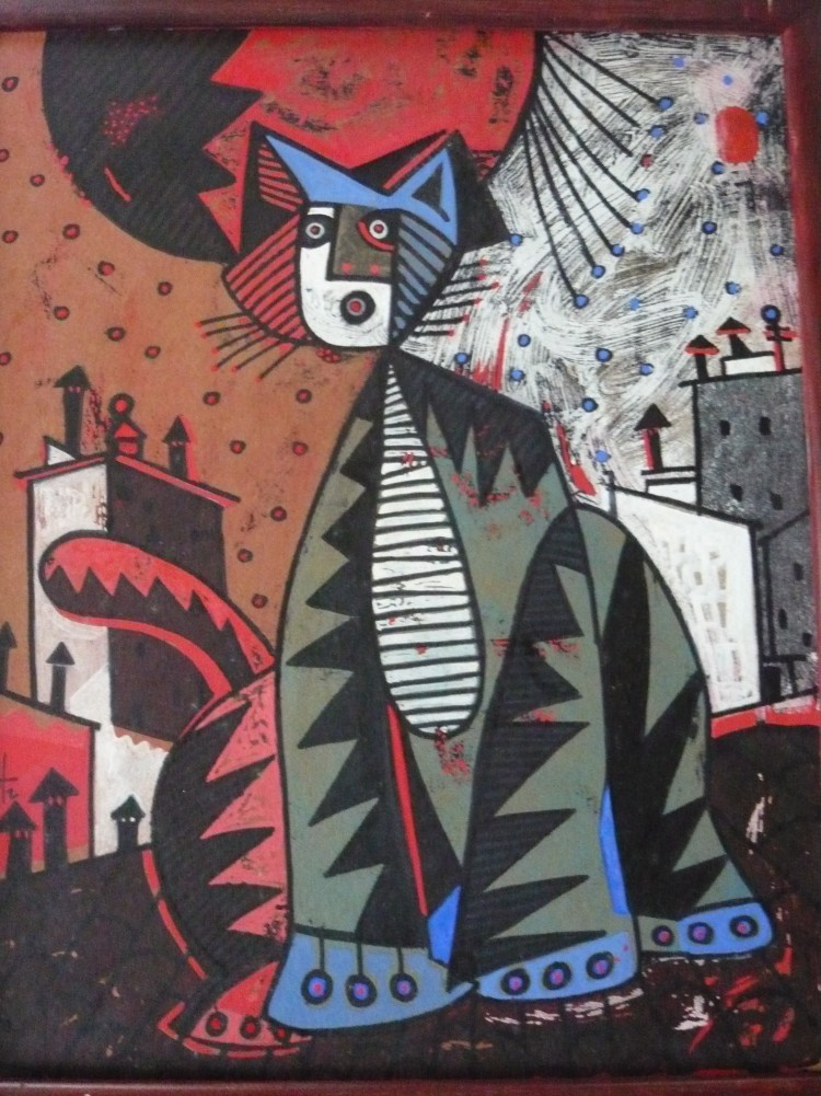 Gato Rojo (Red Cat) 1991 30x27 by Jesus Fuertes