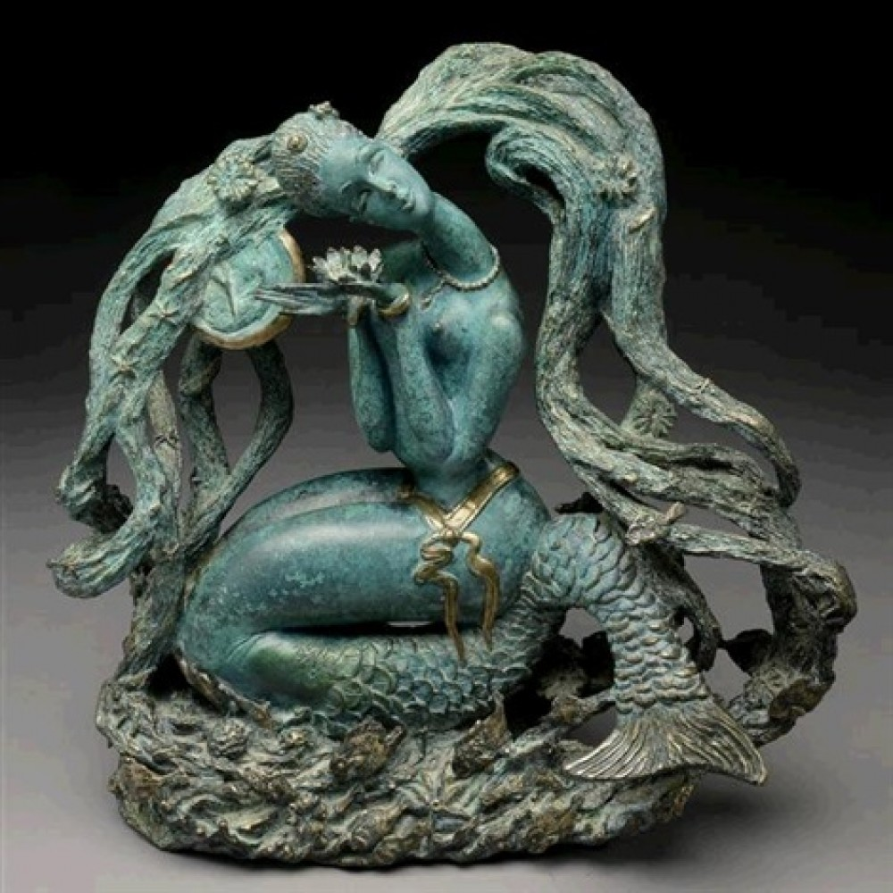 Mermaid: Bronze Sculpture 1987 17 in