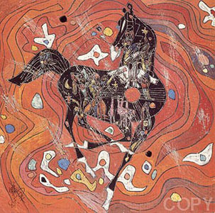 Black Horse, White Horse Set  2 Serigraphs 1988