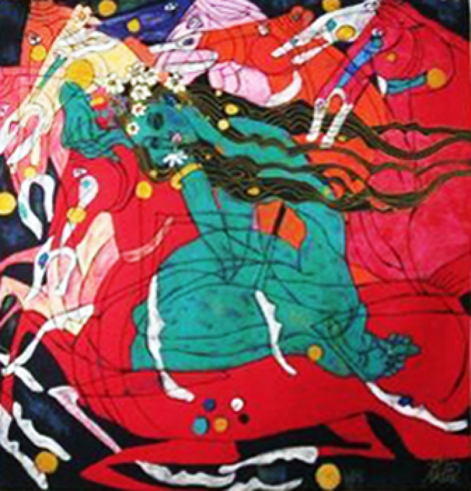 jiang Jiang is the founder of the yunnan school of painting, one of the most important contemporary movements of abstract art in china his works are richly colored and his imagery contains figurative elements with contrasting patterns.