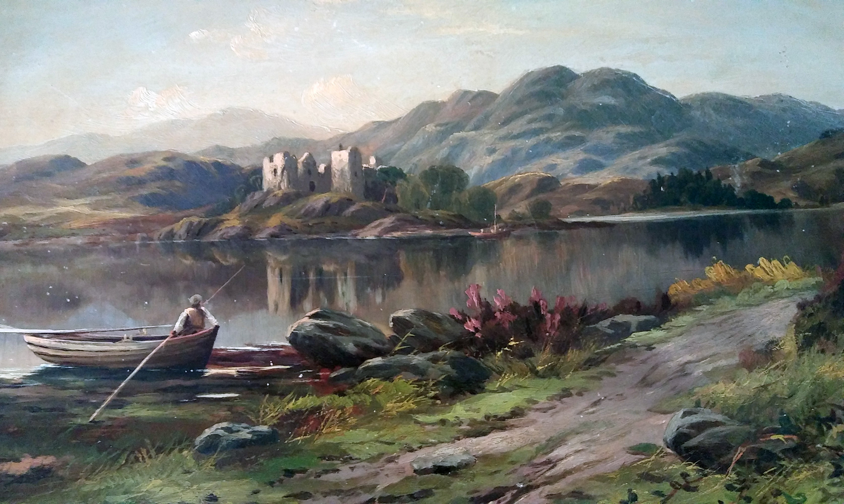 Man in Rowboat Overlooking Castle 1890 12x18