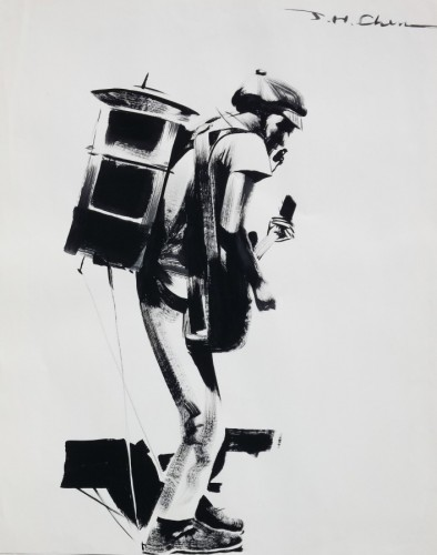 One Man Band Drawing 1994 31x24