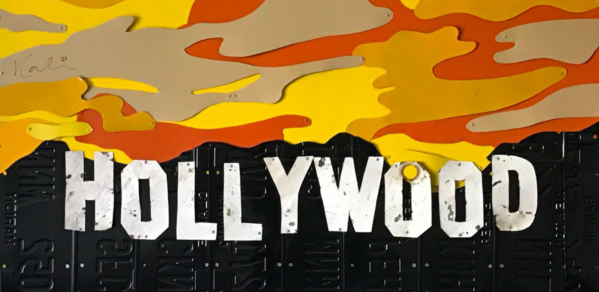 Old Hollywood Sign on License Plates 2007 25x48