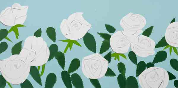 White Roses 2014 47x90 by Alex Katz