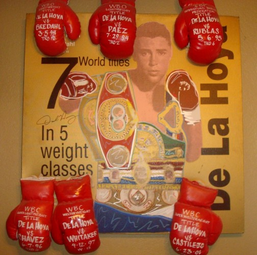 Oscar De La Hoya with 6 Gloves Unique 44x36