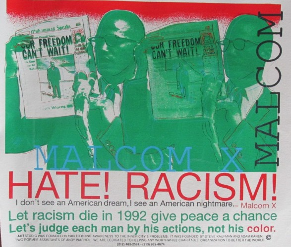 Malcom X - Stop Racism - Suite of 2 Unique 1990