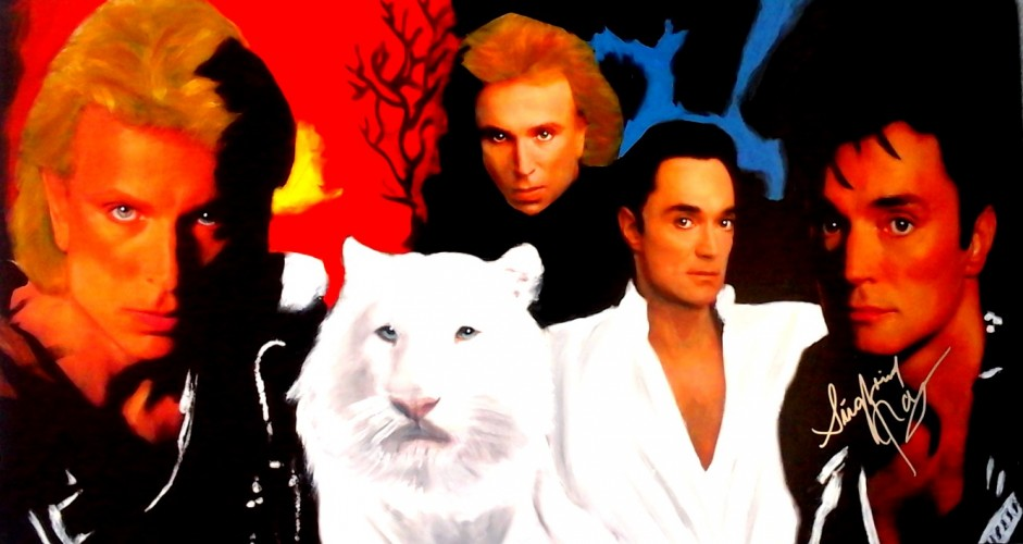 Siegfried And Roy With A White  Tiger Unique 2007 Unique 24x46