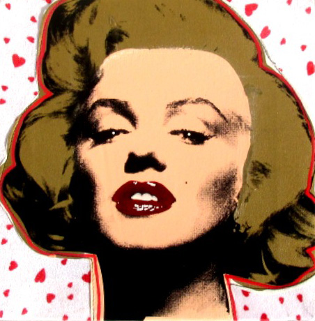 Marilyn Embellished Red Glossy Lips With Hearts on Cloth 2008