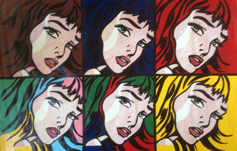 Crying Girls 6 Homage to Lichtenstein Unique 2000 31x48
