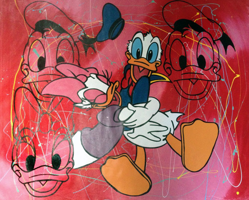 Disney Donald And Daisy Duck Red Pollock 2000 by Steve Kaufman