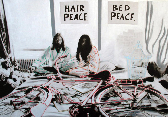 John and Yoko Hair Peace  Unique 48x36 1975 48x36