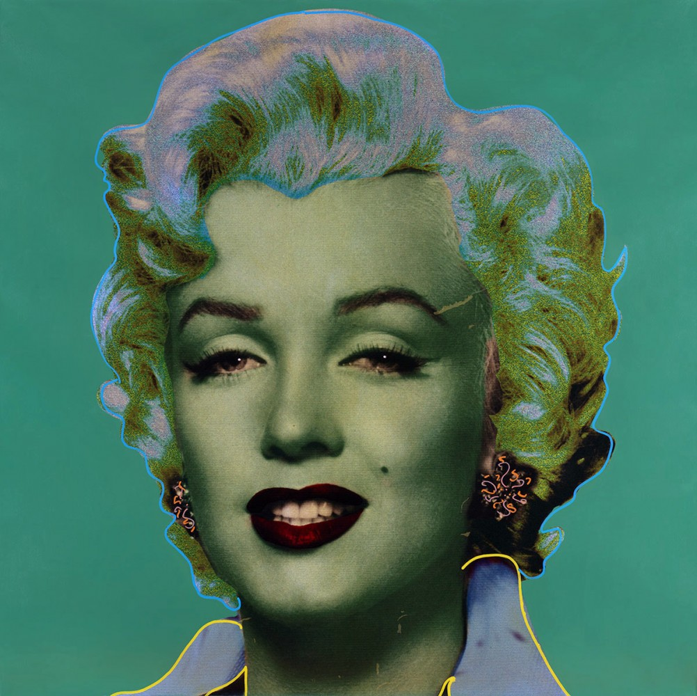 Marilyn Pop Green   Unique 2005 48x48 by Steve Kaufman