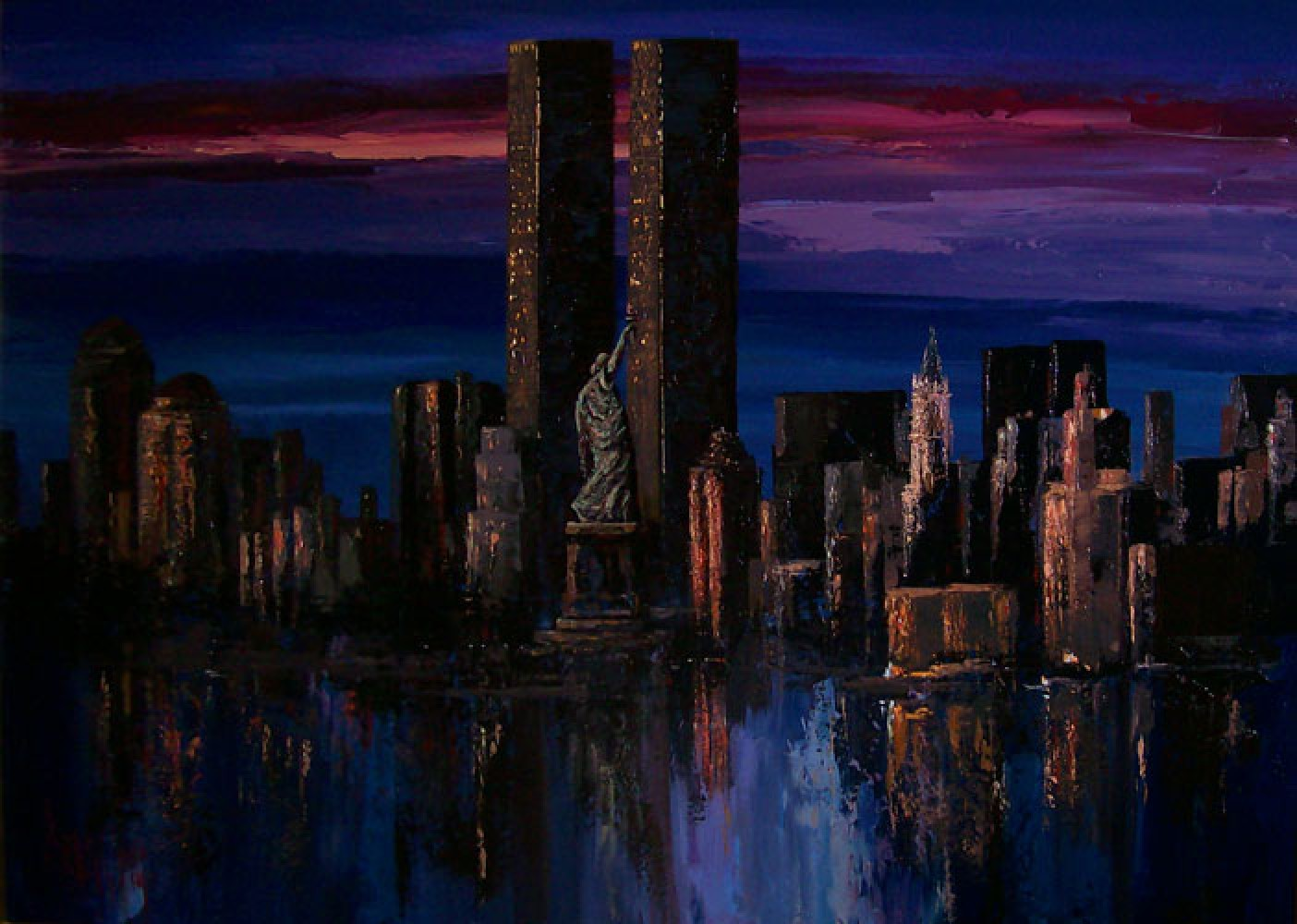 Twin Towers - Midnight Reflections 2004 New York