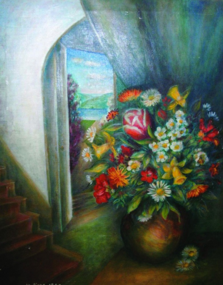 Vase With Flowers And Interior 40x34 1940
