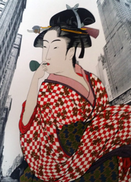 Woman Playing a Poppin After Utamaro AP 1981