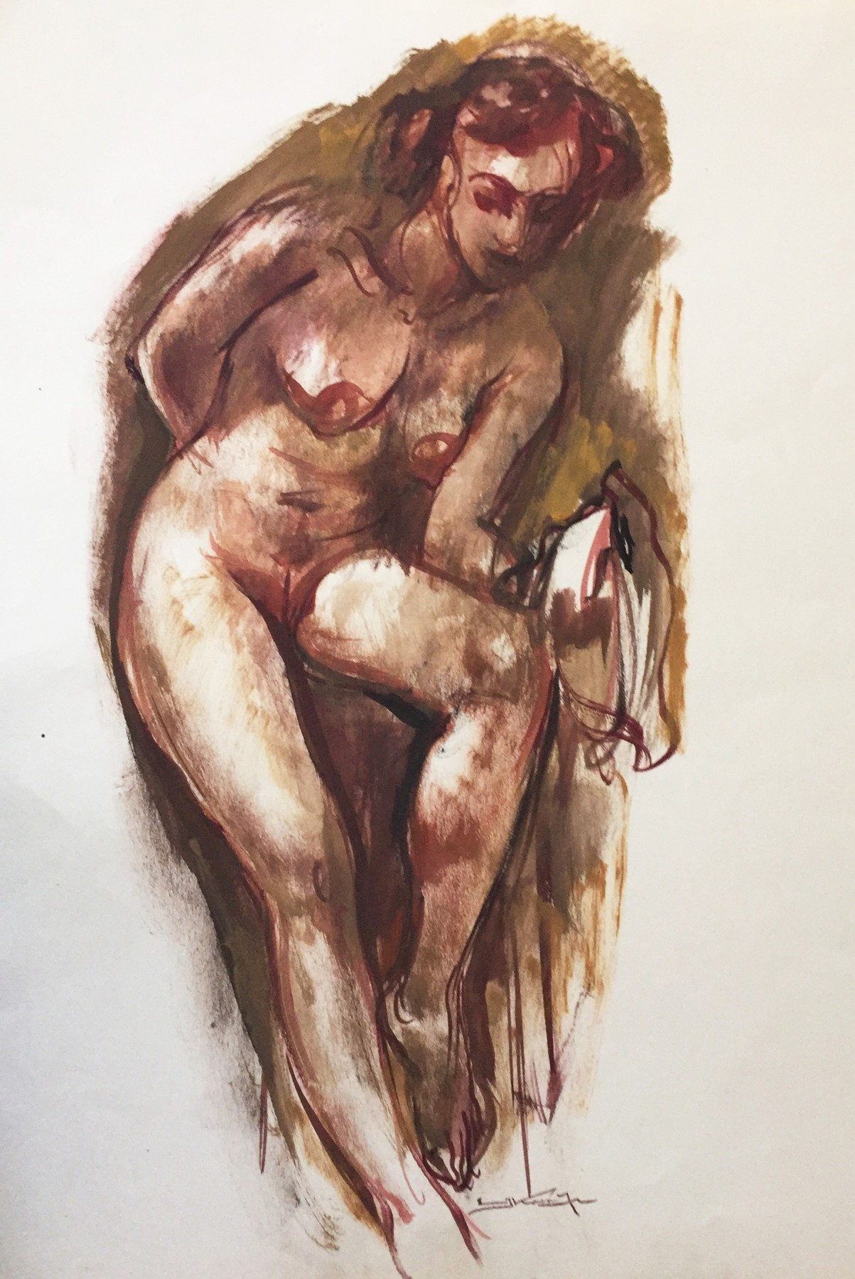 Nude Female Standing Watercolor 28x19