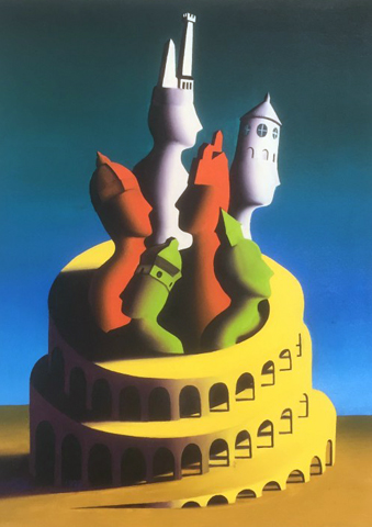 All Roads But Lead to Rome 1992 24x18 by Mark Kostabi