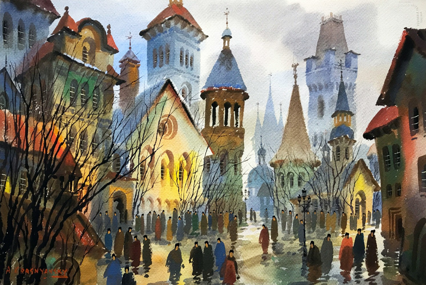 European City Scene Watercolor 28x45