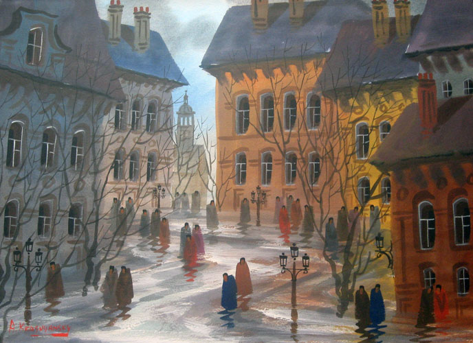 Street of Aubers Watercolor