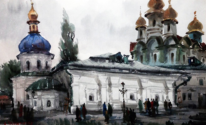 Kiev Church - Ukraine Kiev Watercolor 1978