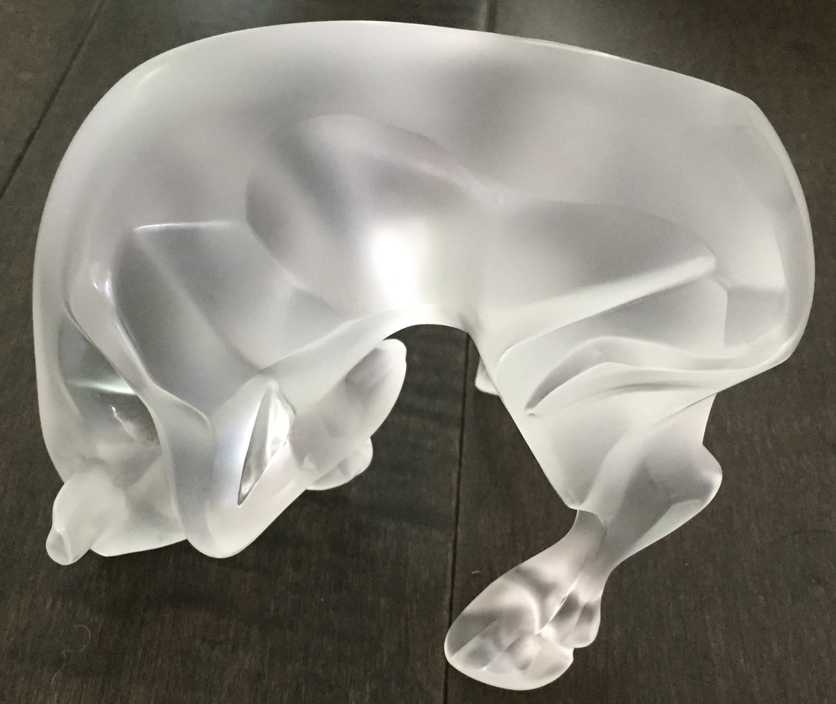 Auroch Bull And Ursus Bear Glass Sculpture 1990 7 in