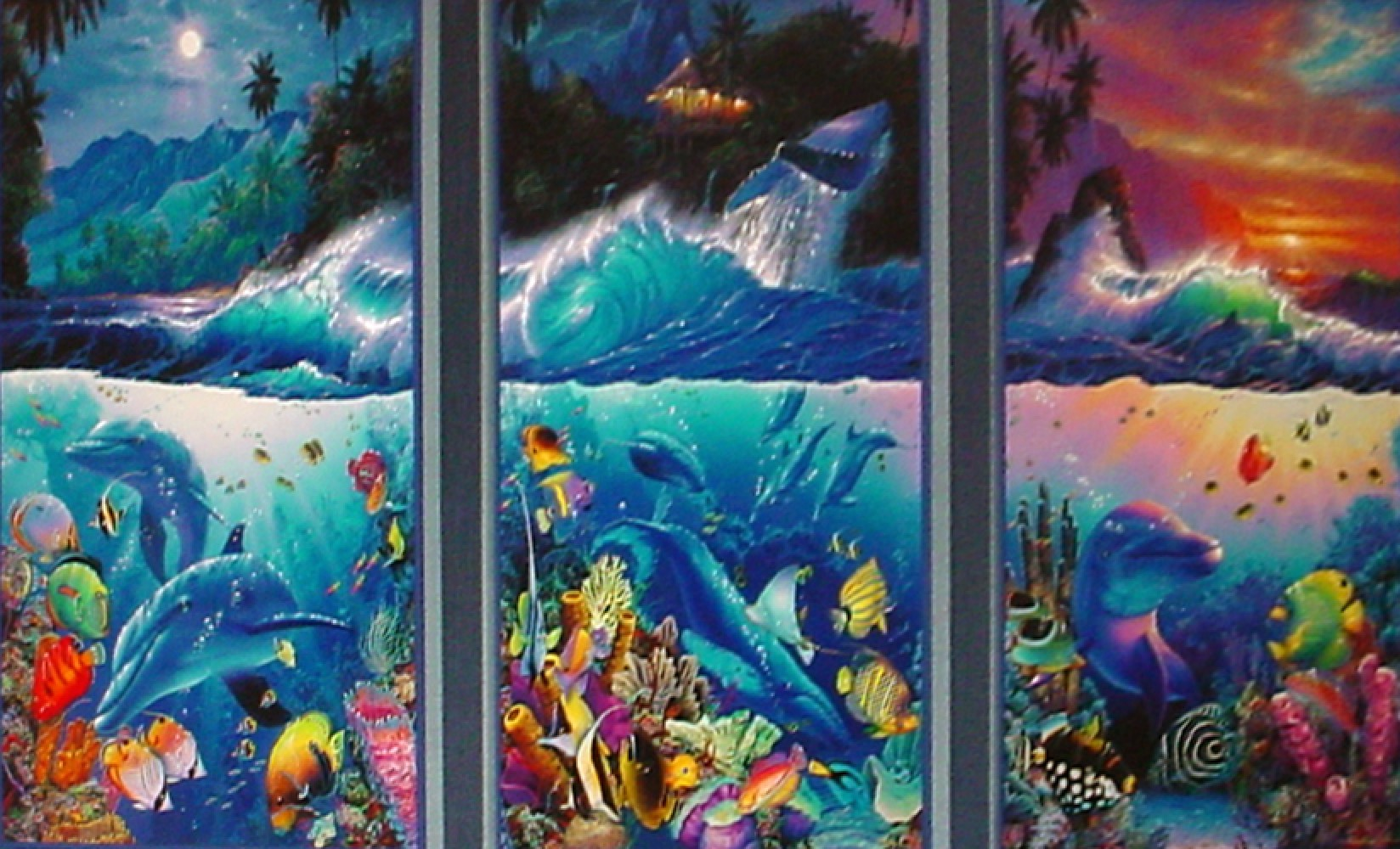 Beyond The Reef Triptych AP 1998 With Diamonds