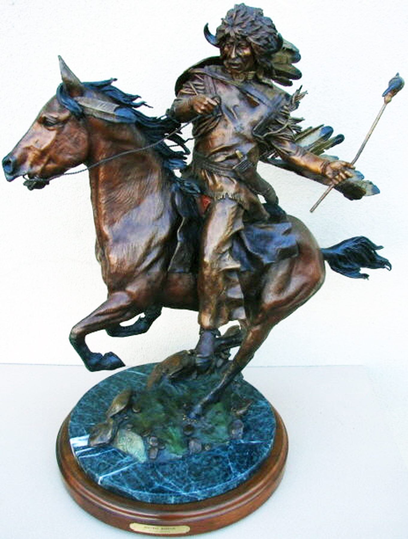 Buffalo Warrior Bronze Sculpture 29 in