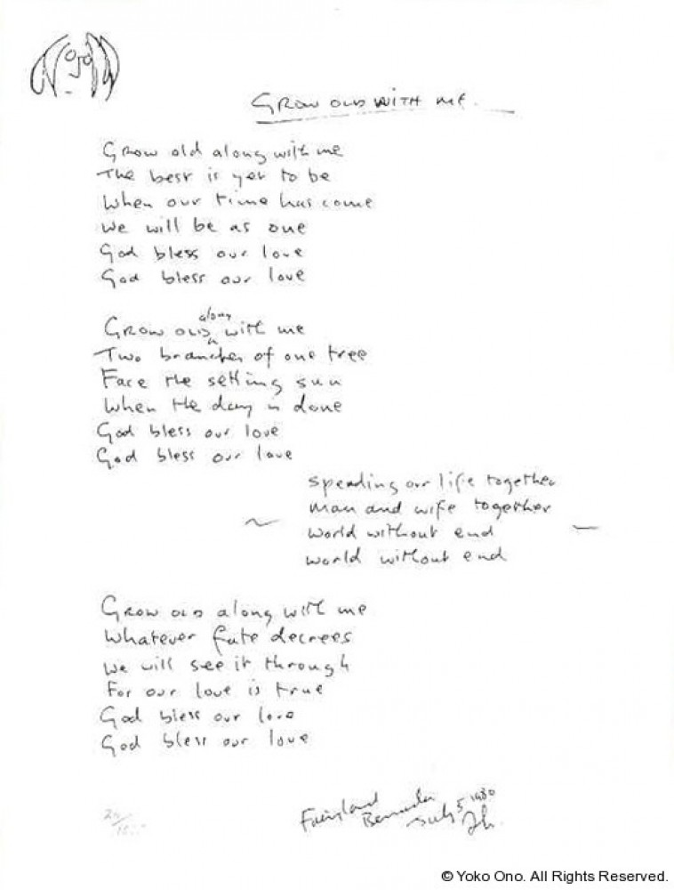Grow Old With Me Lyrics  1980